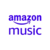 Square icon with purple text reading Amazon Music on a white background.