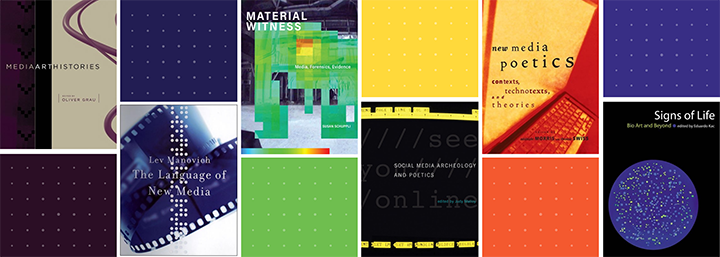 Collage of several book covers from the Leonardo Book Series alternating with colorful blocks in a grid pattern.