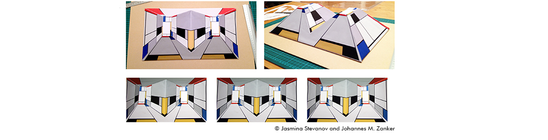 """""""Reverspective"""" Mondrian space: two square frustums with morphed Mondrian patterns made of four paintings; catalogue numbers and years (from Mondrian et al). Square frustums are (a) perceived as two concave corridors when seen from above and (b) seen as t"""