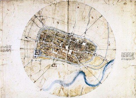 Leonardo da Vinci - Map of Imola, Wikimedia Commons