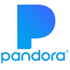 Square icon of a large blue P and the word Pandora on a white background