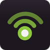 Square icon of two curved green lines emanating from a green circle on black background