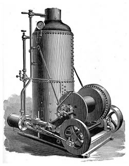 Old catalog illustration of a steam engine.