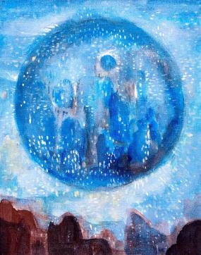 Acrylic painting showing a blue orb on a background of sky over an indistinct horizon