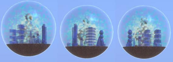 Three circles arranged horizontally on a light blue background. Each orb contains geometric shapes evocative of a city skyline.