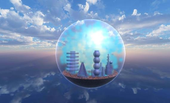 Static image of augmented artwork showing a semitransparent orb on a background of blue sky and white clouds. Within the orb are geometric shapes that evoke skyscrapers and other city structures.