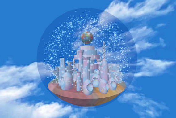 Static image of augmented reality artwork showing a semitransparent orb on a background of blue sky and white clouds. Within the orb are geometric shapes that evoke skyscrapers and other city structures.