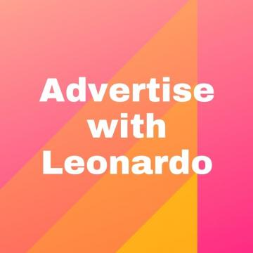 Square graphic with a large triangle made up of yellow and orange ombre stripes on a pink background behind the words Advertise with Leonardo.